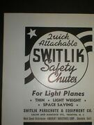 1940 Quick Attachable Switlik Safety Chute Parachute Vintage Trade Print Ad