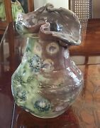 """George Ohr Art Pottery Ruffled Vase Pinch Pot Dimpled Large 8"""" Crimped Rare Htf"""