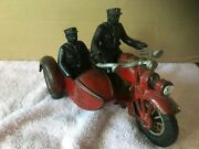 Antique 1673a Hubley Motorcycle And Sidecar 8 1/4 Long 5 1/2 Tall 5 Across