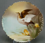 Bandh Limoges Hand Painted Game Bird And Gold 9 7/8 Inch Dinner Plate Circa 1890s