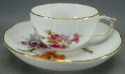 Kpm Berlin Hand Painted Dresden Floral Butterfly And Gold Tea Cup And Saucer H