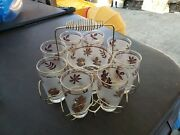 Vintage Gold Leaf Mid Century Barware Gold Caddy With 8 Glasses, Ice Bucket And Rk