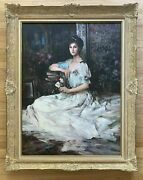 An He Hans Amis Original Signed Oil Painting Chinese Master Artist Caroline