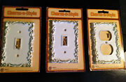 Three Charm And039n Style Switchplates C 1965. White W Gold Trim. Still In Packaging