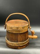 Vintage 5andrdquo Firkin Sugar Bucket With Spout Great Patina