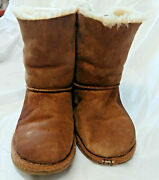 Uggs Women's 7 Tall Boot Lace-up Back Pull On Chestnut Suede Size 5