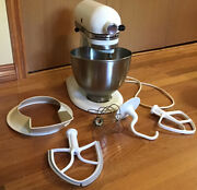 Vintage Hobart Kitchenaid K45ss 10 Speed Mixer With Bowl And Attachments White Usa