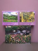 Vintage Mb Jigsaw Puzzle Lot Of 3 -2 Scenic Selections 1000-pc, 1 Oxford 750-pc