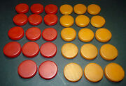 Vtg Bakelite Red And Butterscotch Swirl Backgammon Marbled Checkers Chips A2