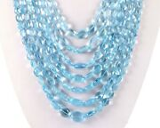 Aaa+ Best Quality Natural Aquamarine Smooth Oval Nugget Stone Beads 24 Necklace