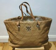 Quilted Grand Shopping Tote Gst In Dark Beige Caviar Leather.