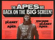 Planet Of The Apes Double Bill 1972 Original Uk Quad Poster 30 X 40 Inches