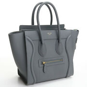 [used] Celine Luggage Micro Shopper Leather Gray[rank A]