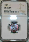 1907 Indian Head Cent Ngc Ms 65 Bn Amazing Eye Appeal Vivid Details Color Toned