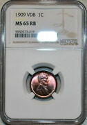 1909-p U.s 1 Cent Lincoln Cent Vdb Ngc Ms 65 Rb Vibrant Gem Luster Nice Color