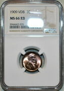 1909-p Lincoln Cent Vdb Ngc Ms 66 Rb Amazing Eye Appeal Red Brown Gem High Grade