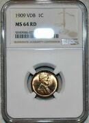 1909-p U.s 1 Cent Lincoln Cent Vdb Ngc Ms 64 Rd Beautiful Red Appeal Choice