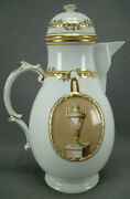 18th Century Furstenberg Germany Sepia Tone Urns In Gold Medallions Coffee Pot