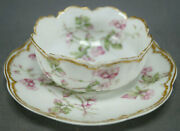 Haviland Limoges Schleiger 241 Pink Flowers And Double Gold Ramekin And Saucer C