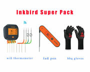 Inkbird Food Barbecue Meat Thermometer Ibbq-4t + Instant Pen +bbq Grill Gloves