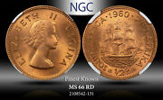 1960 South Africa 1/2 Cent Ngc Ms 66 Rd Finest Known Worldwide