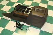 14-18 Gm Truck Brown Leather Woodgrain Floor Console Armrest Charger Cupholder