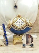 Lady Diana Silver Earrings Necklace Bracelet And Coin Faberge Egg Trinket Music Hm