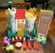 Vintage Fisher Price Little People Play Family Castle 993 Pink Dragon King Set