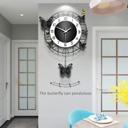 Jugv Butterfly Wall Clock Silent Non-ticking Battery Operated Easy To Read Round