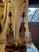 Victorian Antique George And Martha Washington Table Lamps. Autographed Ivoike.