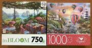 Lot Of 2 New Jigsaw Puzzles 750 And 1000 Seaside - Sunset - Hot Air Balloons -