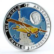 Afghanistan 500 Afghanis Charles Linderbergh Plane Colored Silver Coin 1996