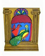 Signed Guillaume Corneille - Memory Of Cuba Polychrome Wooden Sculpture