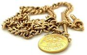 9 Carat 43.17g Yellow Gold 9ct Watch Chain With 1911 George V Half Sovereign