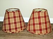 Pair Of Red Plaid Fabric Cone Lamp Shades 12h X 16w Perfect