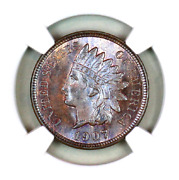 1907 Ms66 Bn Ngc Indian Head Penny Premium Quality Superb Eye-appeal