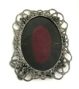 1990 Metzke Handcrafted Pewter Ornate Floral Table Top Frame Rose Flowers Usa