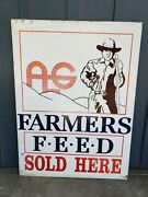Vintage Alg Farmers Feed Sign - Agriculture Advertising - Big Metal Farming Sign