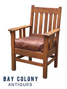 20th C Antique L And Jg Stickley Tiger Oak Arm Chair W/ Leather Seat 810