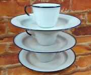 Vintage Ker Sweden Enamelware Lot Cups And 7 Saucers White With Blue Edge 6 Piece