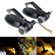 Motorcycle 7/8 Handlebar Bar End Mirrors Turn Signals Drl Light For Cafe Racer