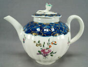 Philip Christian Liverpool Hand Painted Floral Cobalt And Gold Teapot Circa 1765