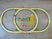 Vintage Mettoy Tinplate Track Clockwork Car Play Set Shell Service Sign Toy Wind