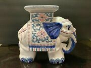 Blue And White Ceramic Elephant Plant Stand / Sidetable / Garden Stool Handpainted