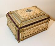 Rare Antique 1700and039s Handmade Tufted Bronze Embroidered Presentation Bible Box.