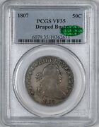 1807 Draped Bust Half Dollar 50c - Pcgs Vf35 - Cac Approved