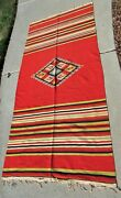 Stunning Large Saltillo Serape Antique Mexican Blanket Nice Condition 44 X 92