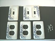 5 Leviton Porcelain Blue Vine Flower Receptacle Outlet And Light Switch Covers