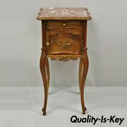 Antique French Louis Xv Walnut Marble Top Nightstand Humidor Porcelain Lined