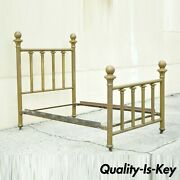 Antique 19th Century Brass Cannonball Victorian Cast Iron Full Size Bed Frame